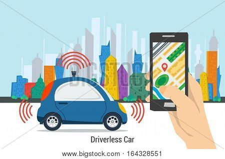 Vector self driving car on colored megalopolis city background and hand holds smartphone with city map gps navigator. Blue small autonomous driverless vehicle. Future technologies in flat style