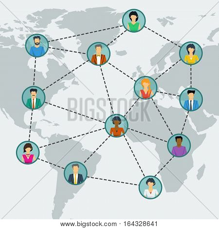 Vector concept social network communication around the globe. Men and woman in different parts of the world connected by lines in flat style. Web square banner