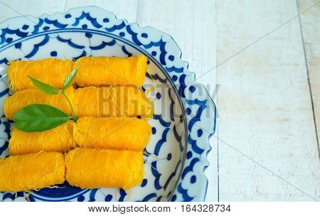 Golden Threads Thai Traditional Dessert in chinese ware blue and white ware