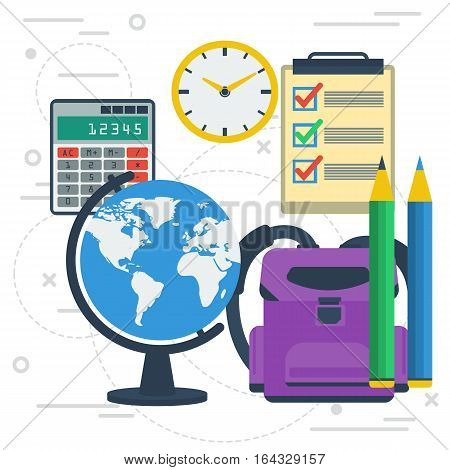 Vector concept education. Globe calculator lessons list and pencils. Other icons for studing on white square line background. Banner for schools universities or remote online training in flat style
