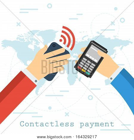 One hand with smart phone second with atm terminal. Vector flat design of concept mobile banking contactless payment on background map of the world. Transferring money and banking transaction