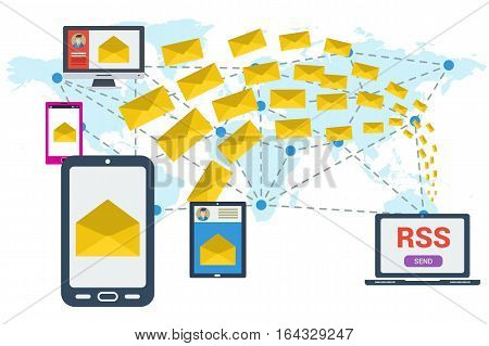Different devices received a letter and computer sending many yellow envelopes around the world. Vector concept of communication and e-mailing worldwide RSS. Illustration in flat style