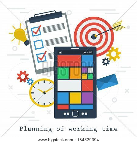 Vector concept time management or planning of working time. App on smartphone in flat style list to do clock and other items on white background. Web square banner