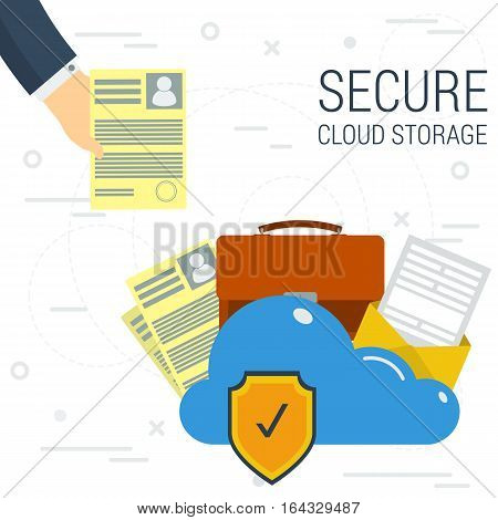 Vector concept safe online cloud data storage. Hand puts the document in a secure cloud storage. Internet disk for personal data in flat style