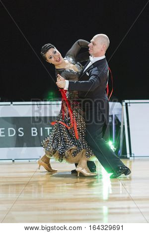 Riga Latvia -December 17 2016: Unidentified Professional Senior Dance couple Performs European Standard Program on the WDSF Baltic Grand Prix-2106 Championship in December 17 2016 in Riga Latvia.