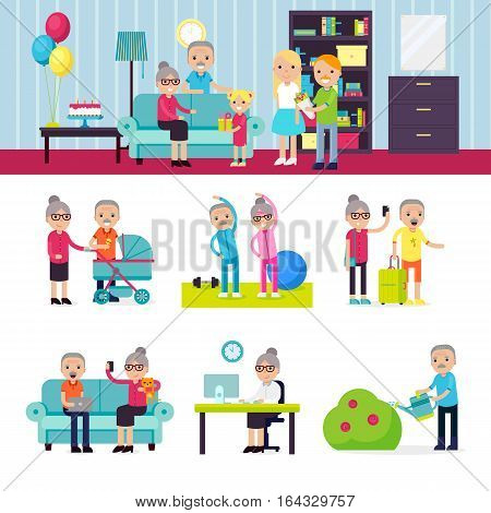 Senior people collection in recreational activities and different situations in flat style vector illustration