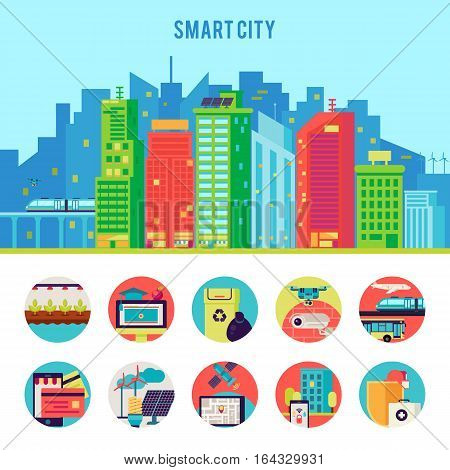 Smart city flat infographic template with advantages automation infrastructure and technologic innovations vector illustration