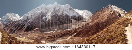 Manaslu mountain covered by white snow. Nepal