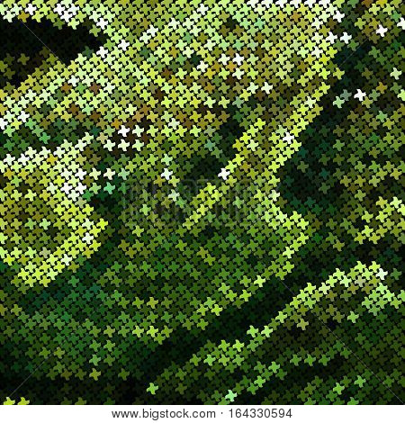 Green mosaic imitating a snake skin. There is an option in the vector.