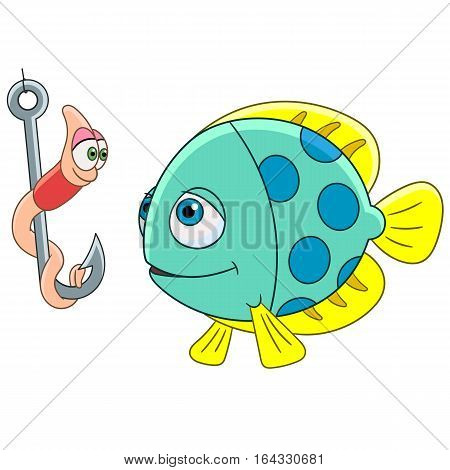Cartoon fish and worm on a fishing hook isolated on white background. Childish vector illustration and colorful book page for kids.