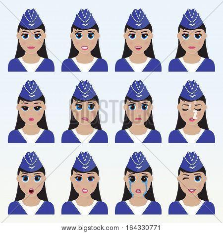 Set Of Cute Stewardess Emoticons.