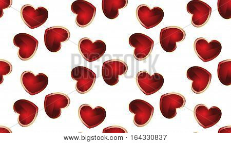 Romantic seamless pattern with hearts. There is a variant in the vector.