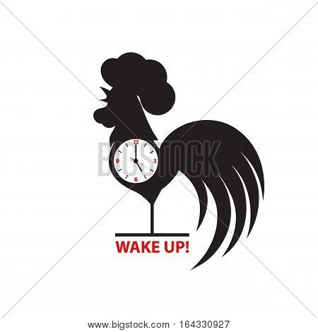 Silhouette of a rooster inside a clock on a white background