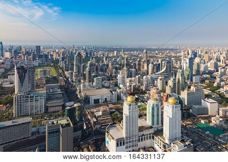 Aerial view Bankok city central business downtown skyline