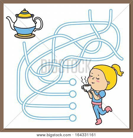 Vector illustration of maze (labyrinth) educational game with cute cartoon girl and cup of coffee or tea for children