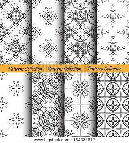 Floral backgrounds set. Forged seamless patterns. Elegant ornament for damask wallpaper, fabric, paper, invitation print. Stylized flower vector. Black and white flourish motif. Unusual vintage vector