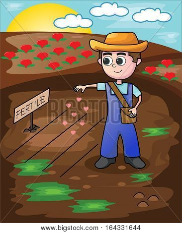 Little Farmer Seeding Love Seeds Cartoon Illustration