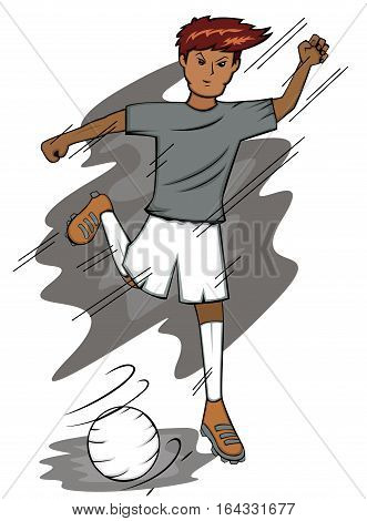 Soccer Player Kicking Ball Cartoon Character. Vector Illustration.