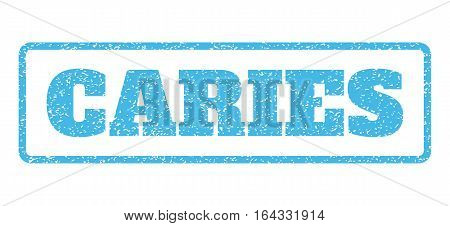 Light Blue rubber seal stamp with Caries text. Vector message inside rounded rectangular banner. Grunge design and scratched texture for watermark labels. Horisontal sticker on a white background.