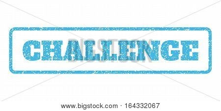Light Blue rubber seal stamp with Challenge text. Vector tag inside rounded rectangular banner. Grunge design and scratched texture for watermark labels. Horisontal sticker on a white background.