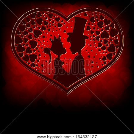 Design of silhouettes of the lovers of the Prince and Princess snuggled up to each other, inside the heart pattern on a red background