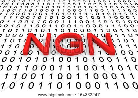 NGN in the form of binary code, 3D illustration