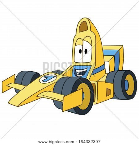 Cartoon vehicle transport. High speed racing car in formula 1 championship isolated on white background. Childish vector illustration and colorful book page for kids.