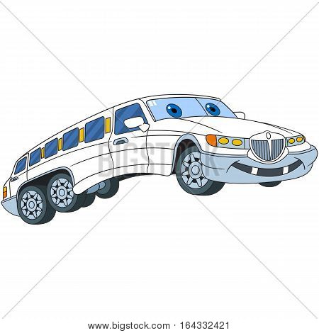 Cartoon vehicle transport. White limousine car (limo) isolated on white background. Childish vector illustration and colorful book page for kids.