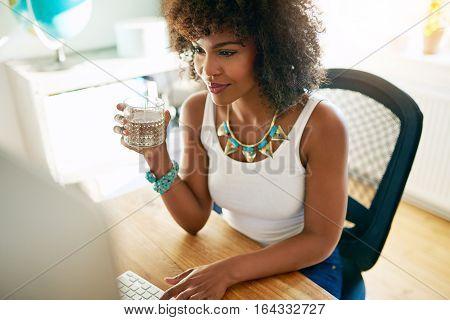 Brunette Working In Office.