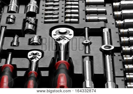 Ratchet Wrench Sets with Associated Tools in Slot Box