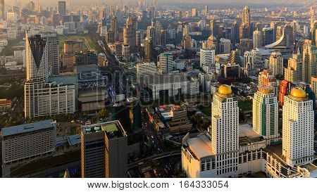 Aerial view Bangkok city central business downtown Thailand