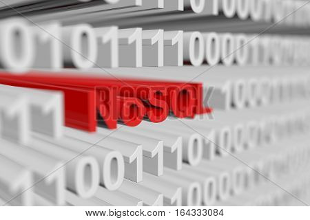 NoSQL in the form of a binary code with blurred background 3D illustration