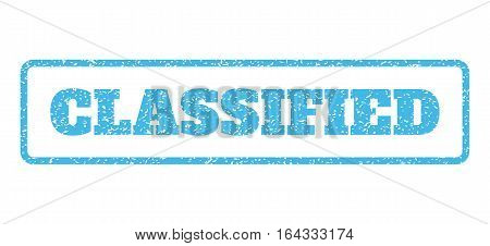 Light Blue rubber seal stamp with Classified text. Vector message inside rounded rectangular shape. Grunge design and dirty texture for watermark labels. Horisontal emblem on a white background.