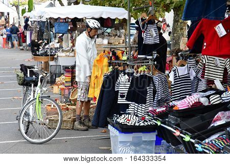Le Bois Plage en Re France - september 27 2016 : clothes at the market
