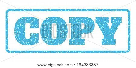 Light Blue rubber seal stamp with Copy text. Vector message inside rounded rectangular frame. Grunge design and dust texture for watermark labels. Horisontal sign on a white background.