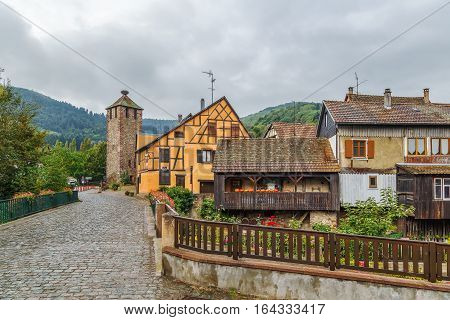 View of Kaysersberg with High Gate Tower Alsace France