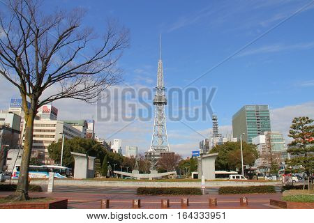 Nagoya Japan - Dec 29 2016 : Nagoya TV tower and Oasis 21 the city of Nagoya. Nagoya TV tower and Oasis 21 building known landmarks of Nagoya Japan.