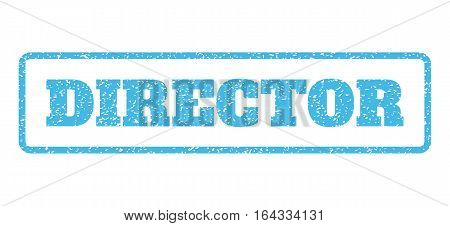 Light Blue rubber seal stamp with Director text. Vector caption inside rounded rectangular frame. Grunge design and dust texture for watermark labels. Horisontal sticker on a white background.