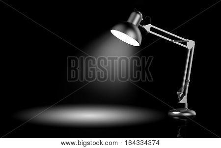 Desk lamp on black background 3D rendering