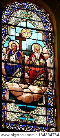 Le Bois Plage en Re France - september 27 2016 : stained glass window of the Saint Barthelemy church