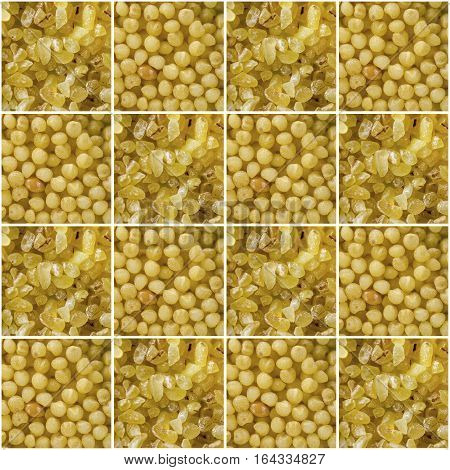 Collage consisting of bulgur and millet grains. Food background. Healthy lifestyle concept. Yellow pattern. Closeup macro shot.