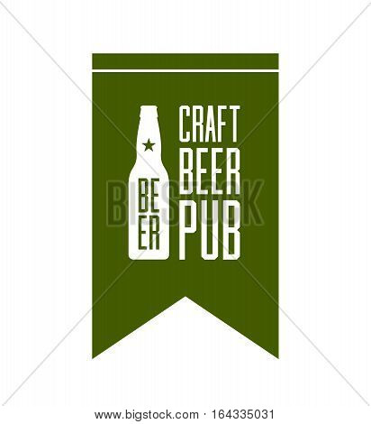 Craft beer pub logo concept isolated on white background. Beer bottle silhouette. Brew pub sign vector illustration. Simple mono craft beer icon infographic pictogram. Brewery label artwork design.