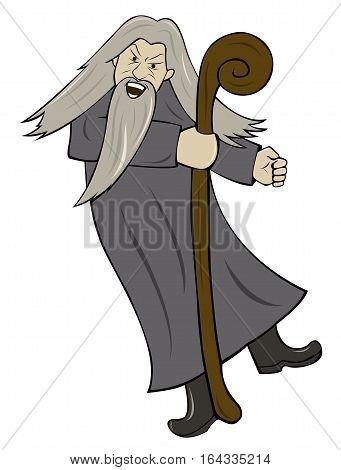 Grey Haired Wizard with Wooden Staff Cartoon Illustration