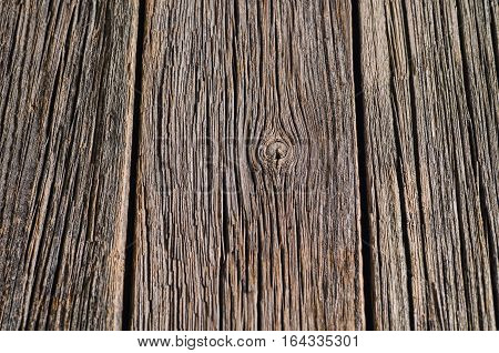 Old wood texture with natural wooden patterns. Top view of a vintage floor or table for background or theme.