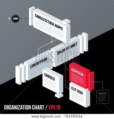 Modern Business Organization Chart Template With 3D Isometric Elements On Gray Background. Neutral C