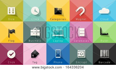 Icons vector collection. Stylish colors of web design objects, business, office and marketing items. Easy editable foe Your design.