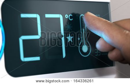 Air Conditioner Temperature Control. Finger pressing the thermometer icon on the scrren Celsius unit. Home Automation Concept. Composite between an image and a 3D background