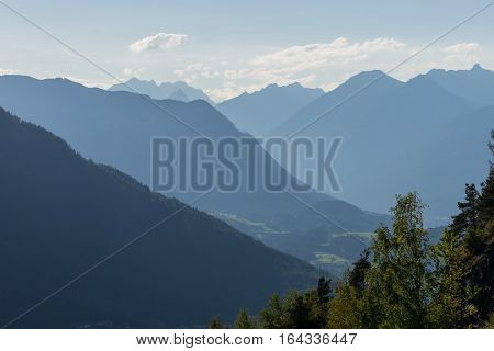 Mountains and peaks landscape. Kühtai glacier natural environment. Hiking in the Stubai Alps. Sellrain valley Tirol Salzburg Austria Europe