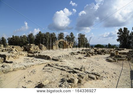 The ruins of a castle forty columns in Paphos.