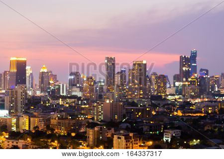 Blurred city lights night view abstract background